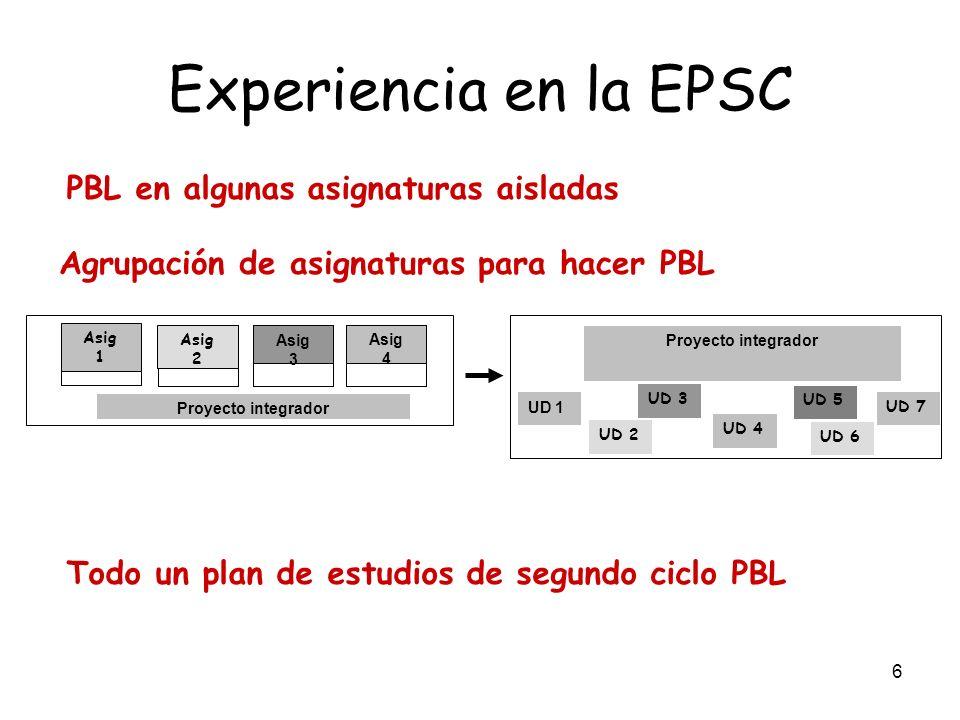 Experiencia en la EPSC PBL en algunas asignaturas aisladas