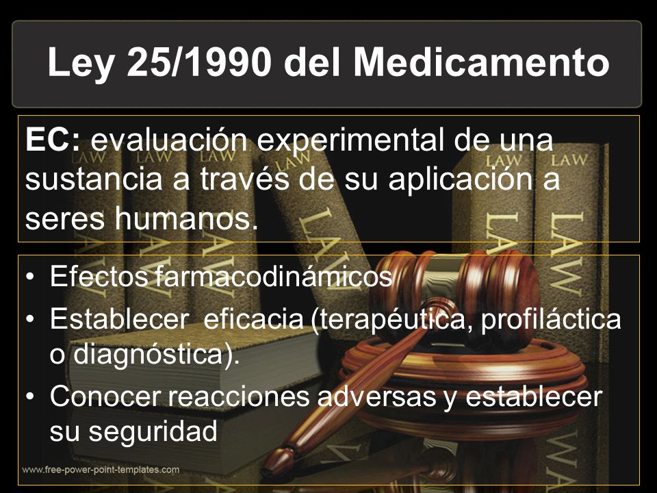 Ley 25/1990 del Medicamento EC: evaluación experimental de una sustancia a través de su aplicación a seres humanos.