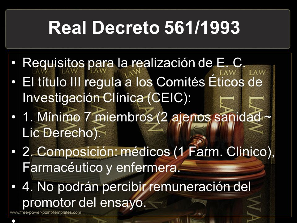 Real Decreto 561/1993 Requisitos para la realización de E. C.