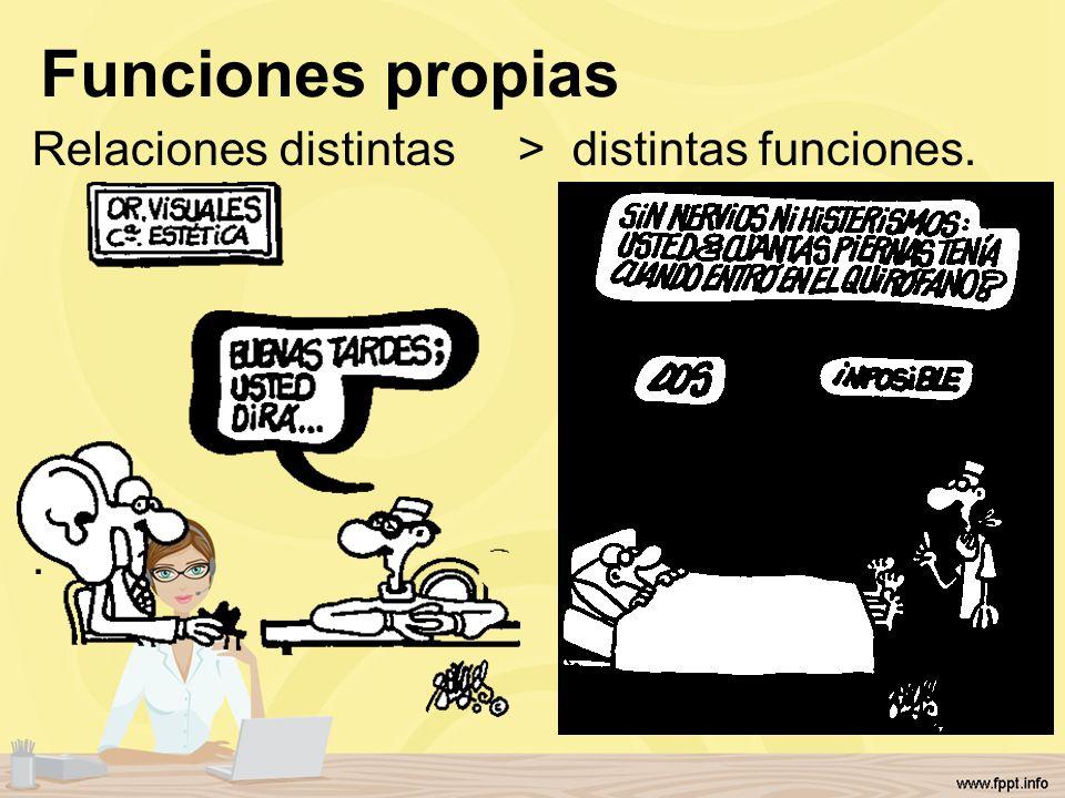 Funciones propias Relaciones distintas > distintas funciones. .