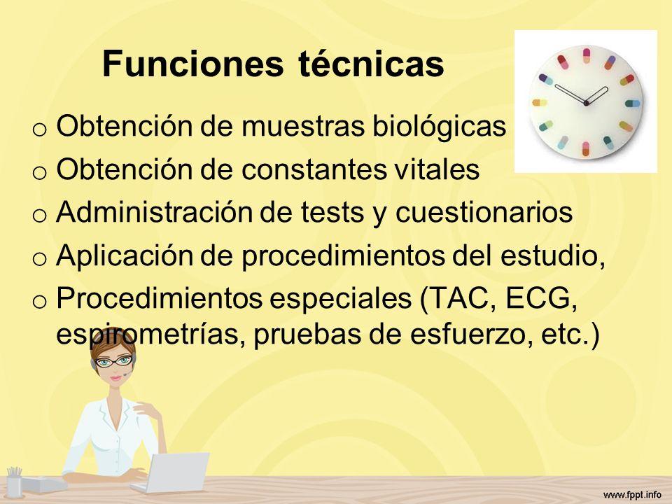 Funciones técnicas Obtención de muestras biológicas