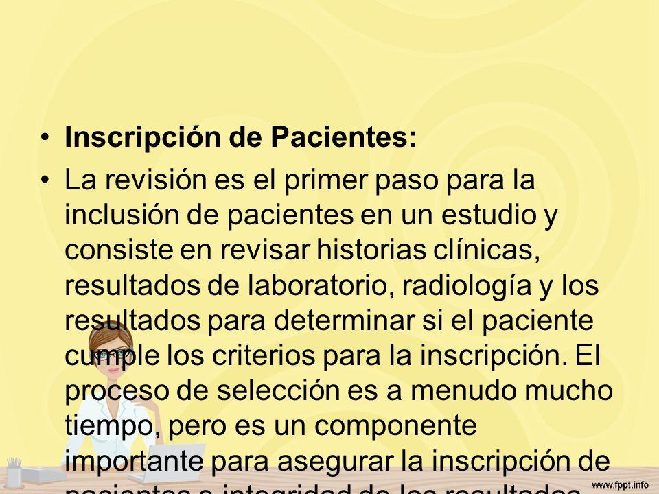 Inscripción de Pacientes: