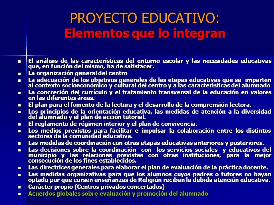 PROYECTO EDUCATIVO: Elementos que lo integran