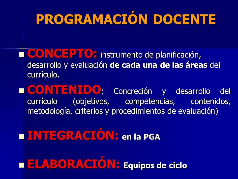 PROGRAMACIÓN DOCENTE CONCEPTO: instrumento de planificación, desarrollo y evaluación de cada una de las áreas del currículo.