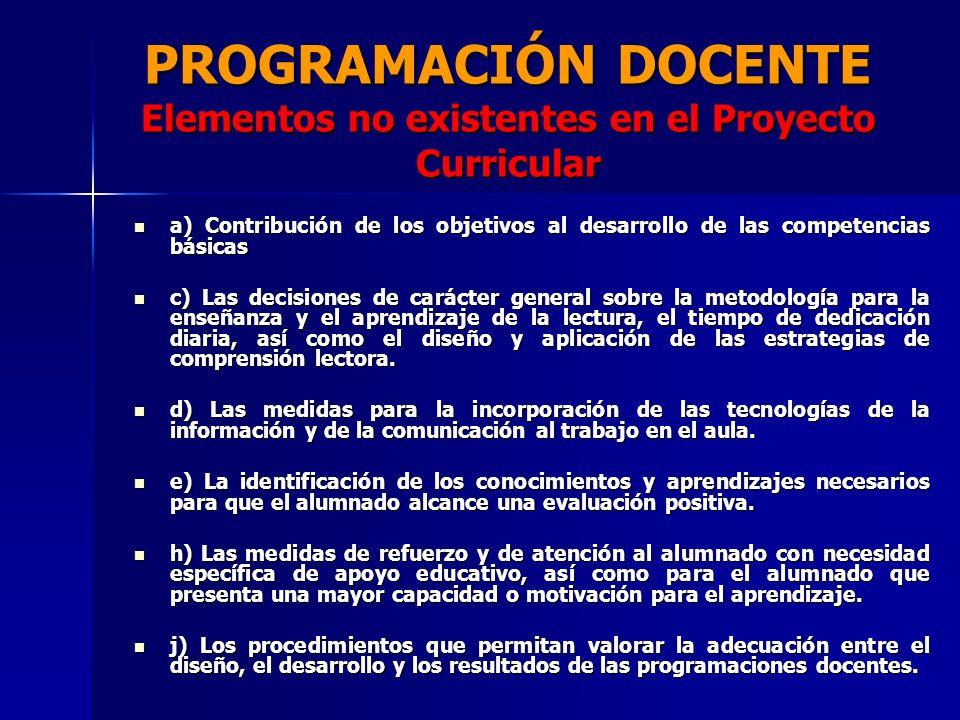 PROGRAMACIÓN DOCENTE Elementos no existentes en el Proyecto Curricular