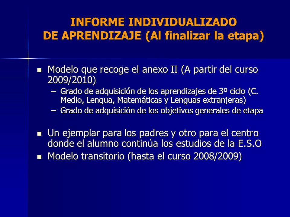 INFORME INDIVIDUALIZADO DE APRENDIZAJE (Al finalizar la etapa)