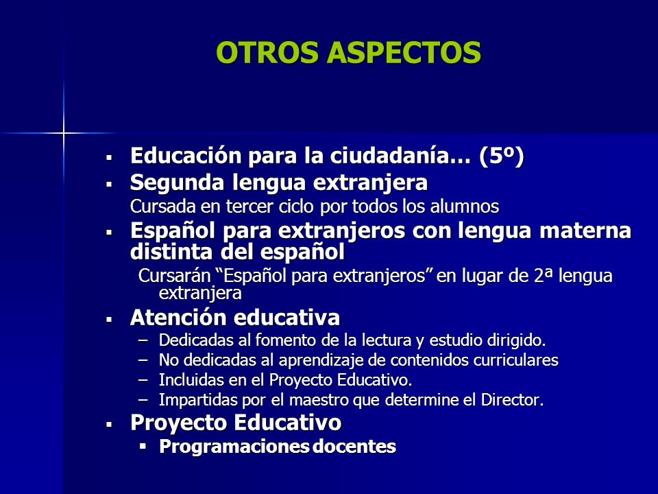 OTROS ASPECTOS Educación para la ciudadanía… (5º)