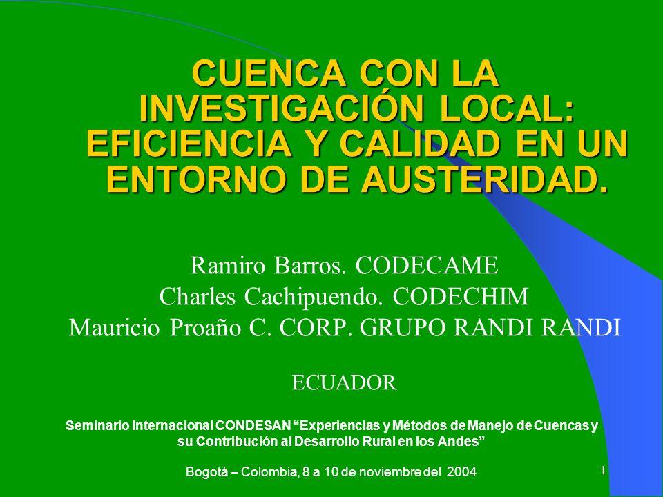 CUENCA CON LA INVESTIGACIÓN LOCAL: EFICIENCIA Y CALIDAD EN UN ENTORNO DE AUSTERIDAD.