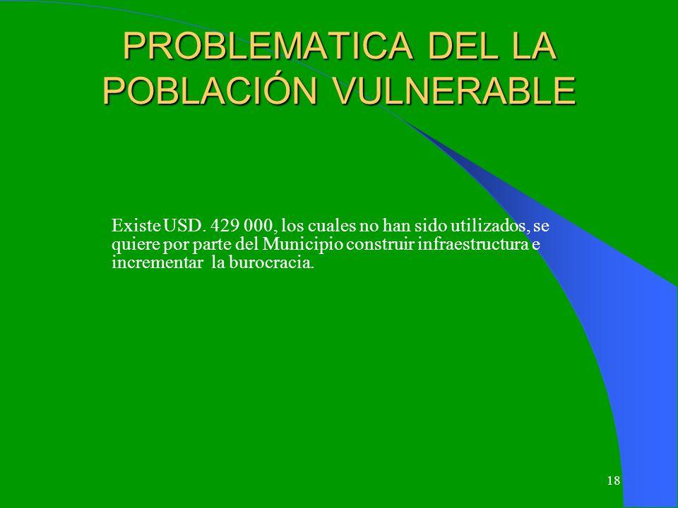 PROBLEMATICA DEL LA POBLACIÓN VULNERABLE