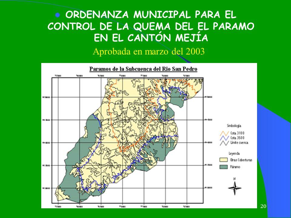 ORDENANZA MUNICIPAL PARA EL CONTROL DE LA QUEMA DEL EL PARAMO EN EL CANTÓN MEJÍA