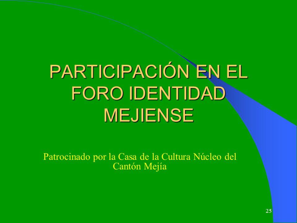 PARTICIPACIÓN EN EL FORO IDENTIDAD MEJIENSE
