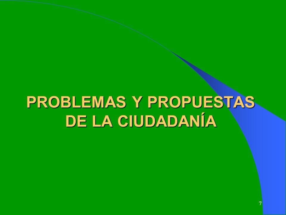 PROBLEMAS Y PROPUESTAS DE LA CIUDADANÍA