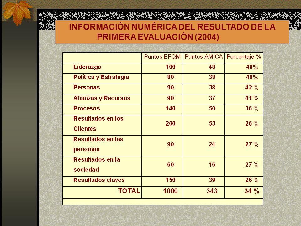 INFORMACIÓN NUMÉRICA DEL RESULTADO DE LA PRIMERA EVALUACIÓN (2004)