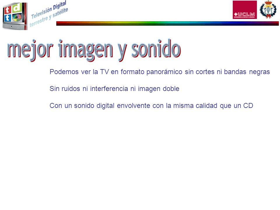 mejor imagen y sonido Podemos ver la TV en formato panorámico sin cortes ni bandas negras. Sin ruidos ni interferencia ni imagen doble.