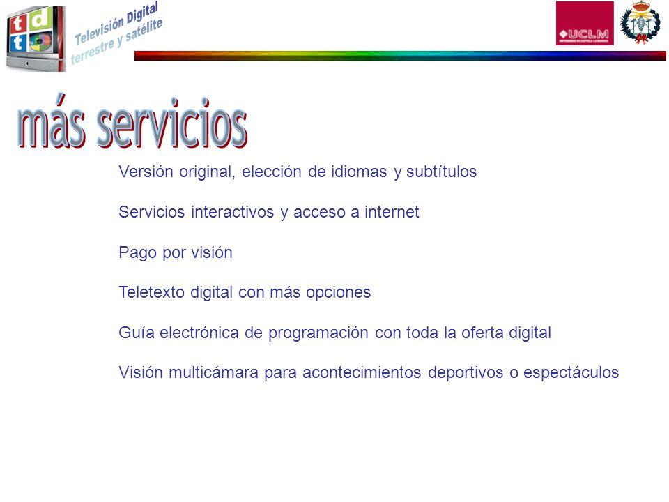 más servicios Versión original, elección de idiomas y subtítulos