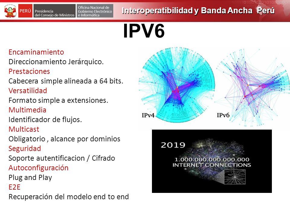 IPV6 Interoperatibilidad y Banda Ancha Perú Encaminamiento