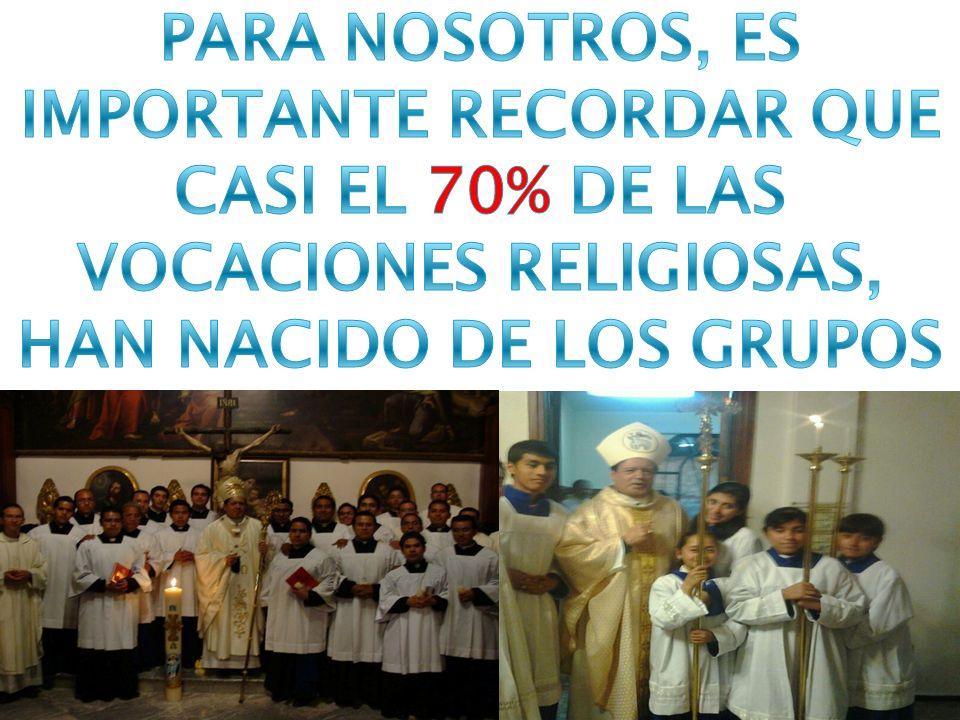 PARA NOSOTROS, ES IMPORTANTE RECORDAR QUE CASI EL 70% DE LAS VOCACIONES RELIGIOSAS, HAN NACIDO DE LOS GRUPOS DE MONAGUILLOS