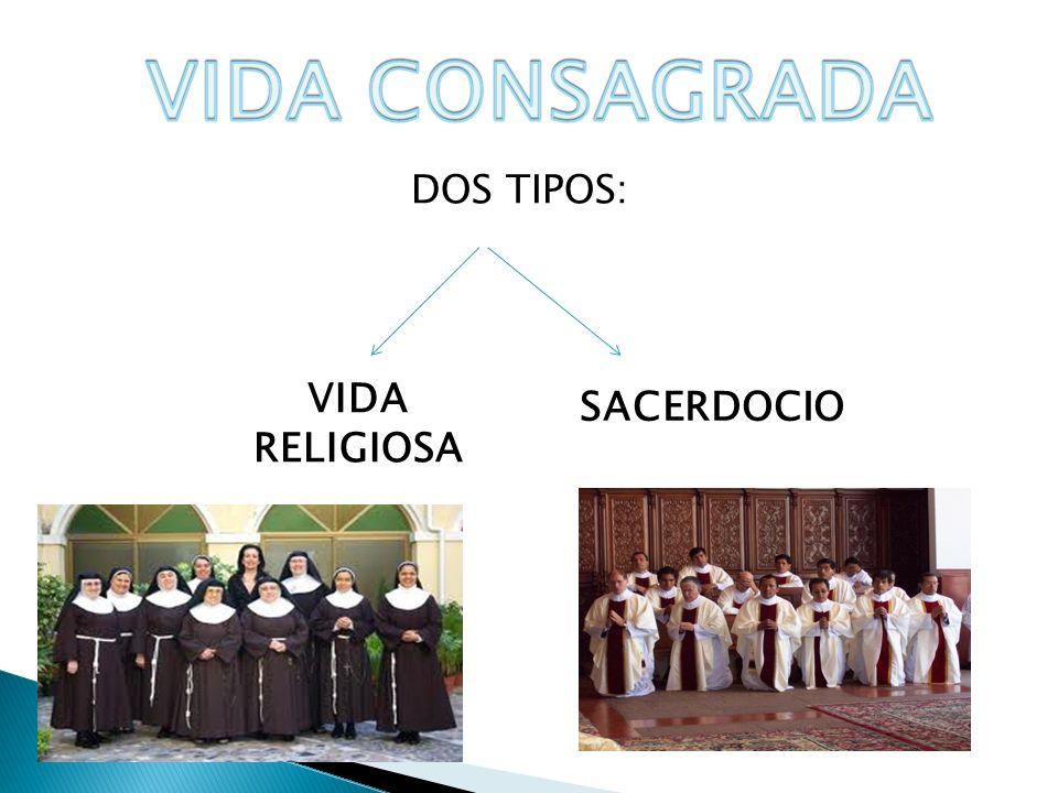 VIDA CONSAGRADA DOS TIPOS: VIDA RELIGIOSA SACERDOCIO