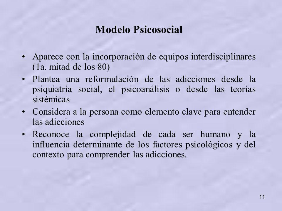 Modelo Psicosocial Aparece con la incorporación de equipos interdisciplinares (1a. mitad de los 80)