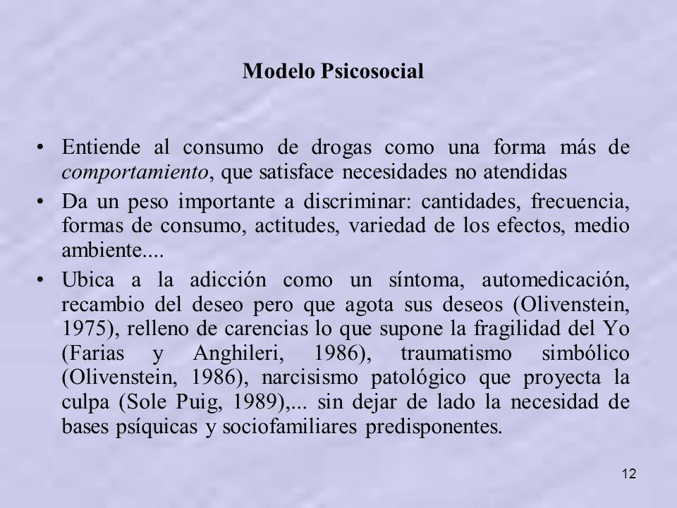 Modelo Psicosocial Entiende al consumo de drogas como una forma más de comportamiento, que satisface necesidades no atendidas.