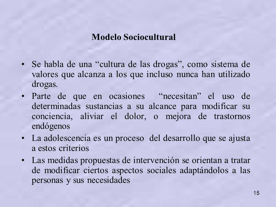 Modelo Sociocultural Se habla de una cultura de las drogas , como sistema de valores que alcanza a los que incluso nunca han utilizado drogas.