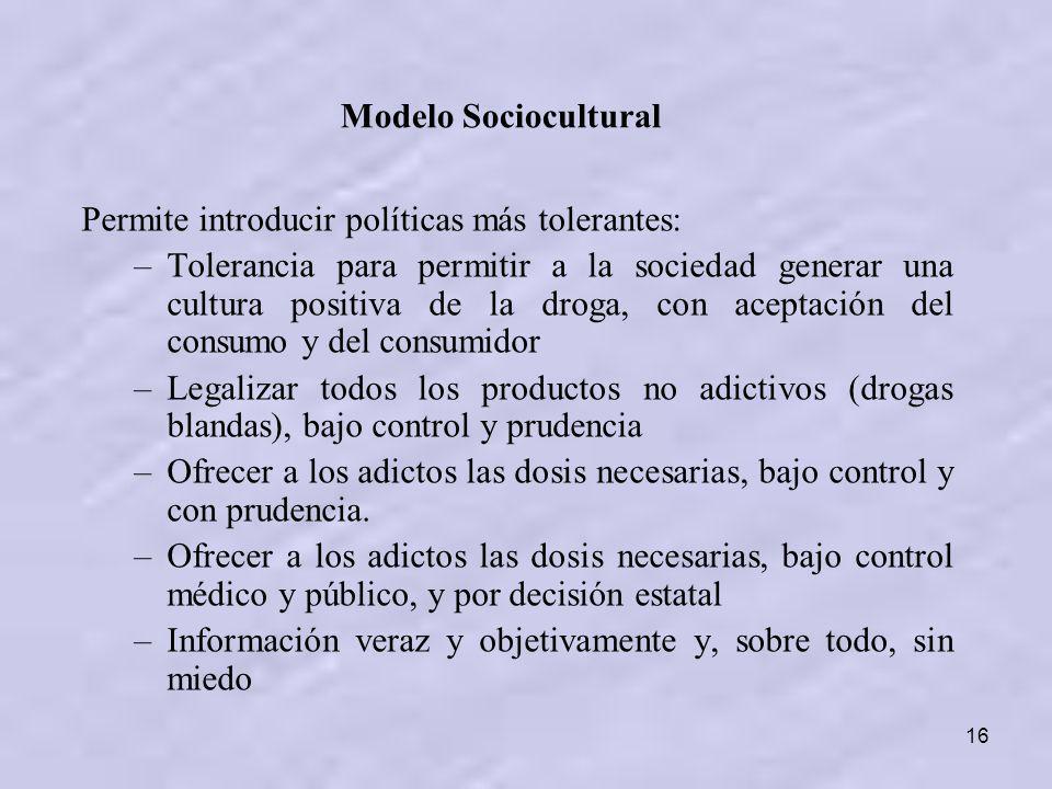 Modelo Sociocultural Permite introducir políticas más tolerantes: