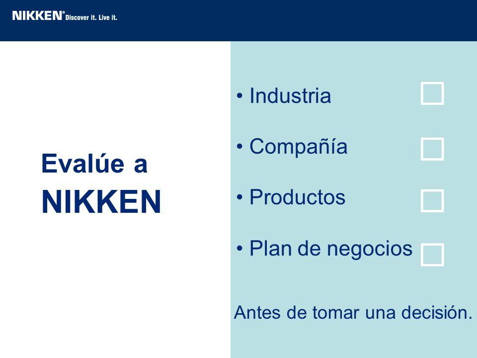   NIKKEN   Evalúe a Industria Compañía Productos Plan de negocios
