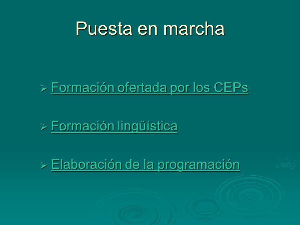 Puesta en marcha Formación ofertada por los CEPs Formación lingüística