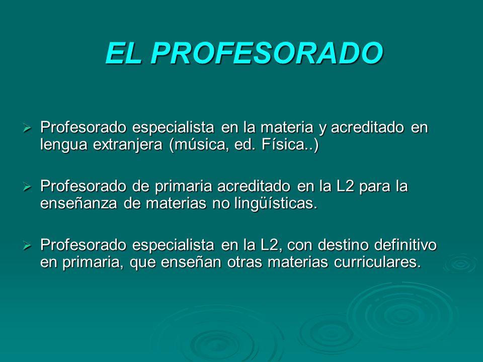 EL PROFESORADO Profesorado especialista en la materia y acreditado en lengua extranjera (música, ed. Física..)