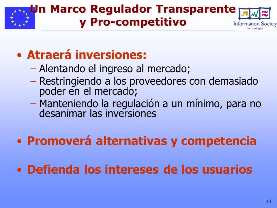 Un Marco Regulador Transparente y Pro-competitivo