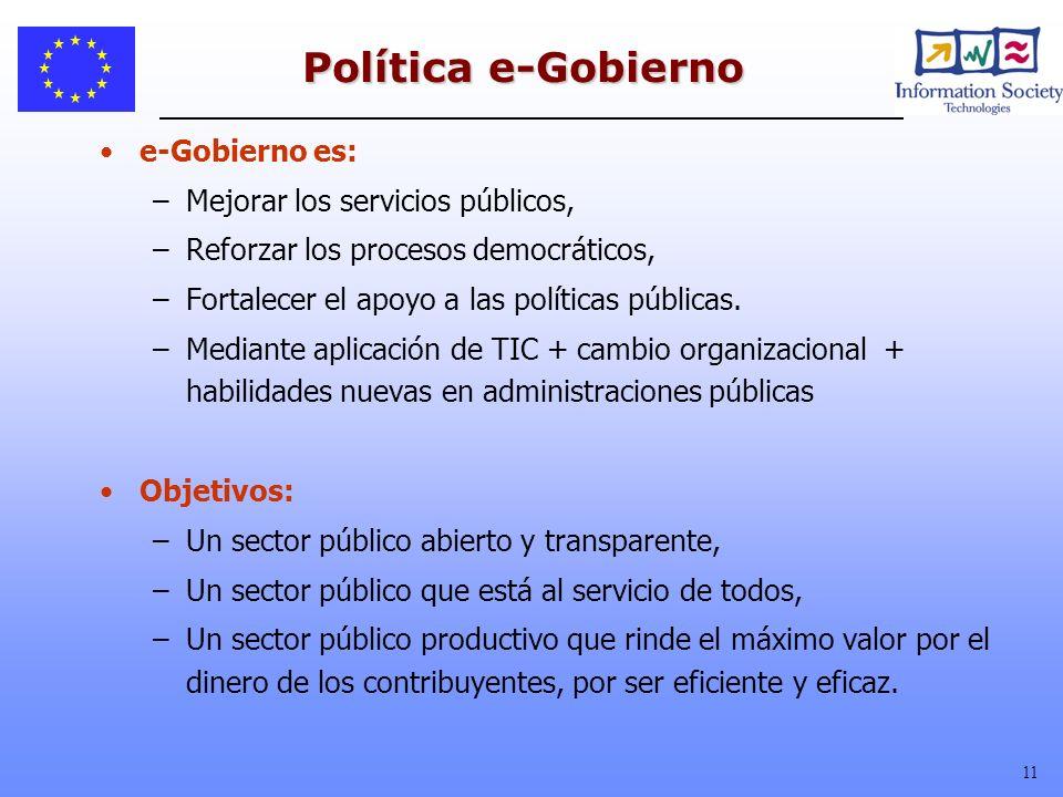 Política e-Gobierno e-Gobierno es: Mejorar los servicios públicos,