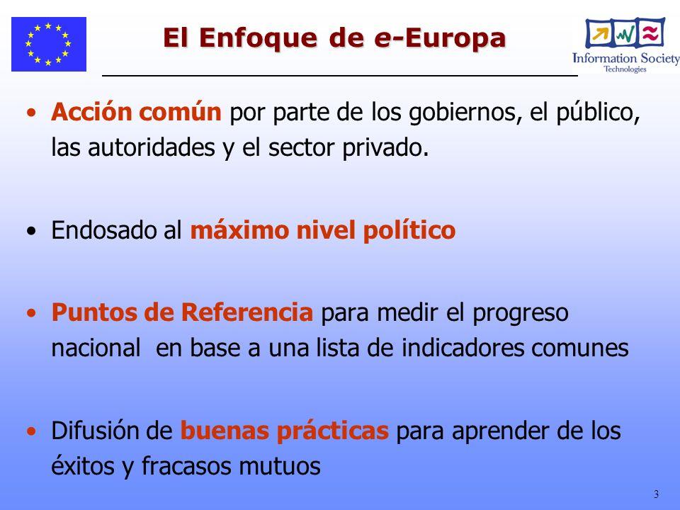 El Enfoque de e-Europa Acción común por parte de los gobiernos, el público, las autoridades y el sector privado.