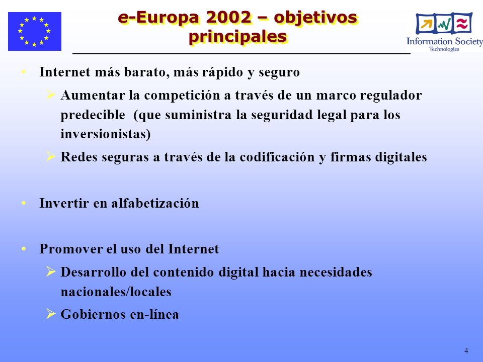 e-Europa 2002 – objetivos principales