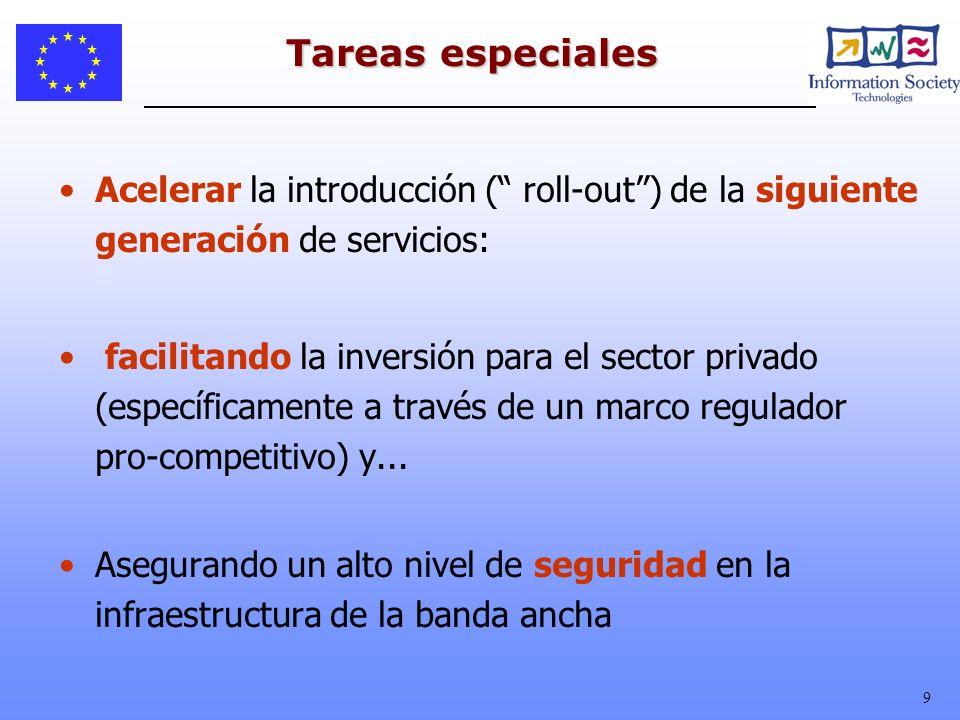 Tareas especiales Acelerar la introducción ( roll-out ) de la siguiente generación de servicios: