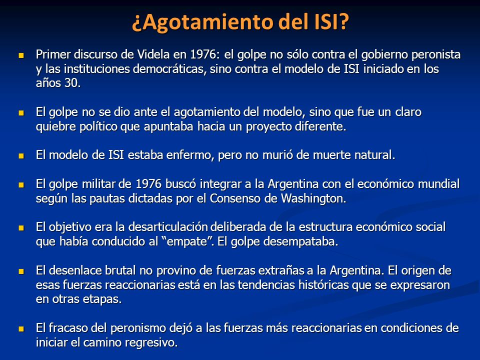 ¿Agotamiento del ISI