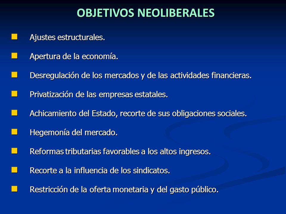 OBJETIVOS NEOLIBERALES