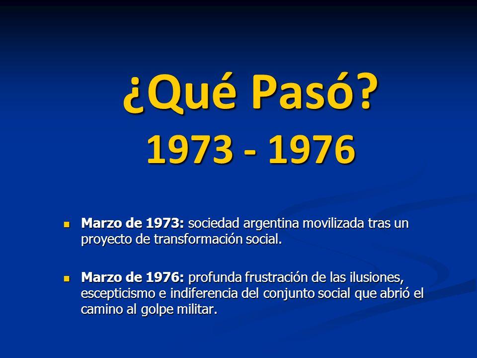 ¿Qué Pasó 1973 - 1976 Marzo de 1973: sociedad argentina movilizada tras un proyecto de transformación social.