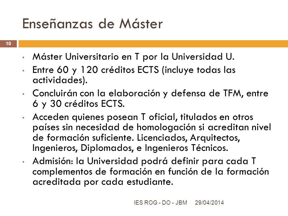 Enseñanzas de Máster Máster Universitario en T por la Universidad U.