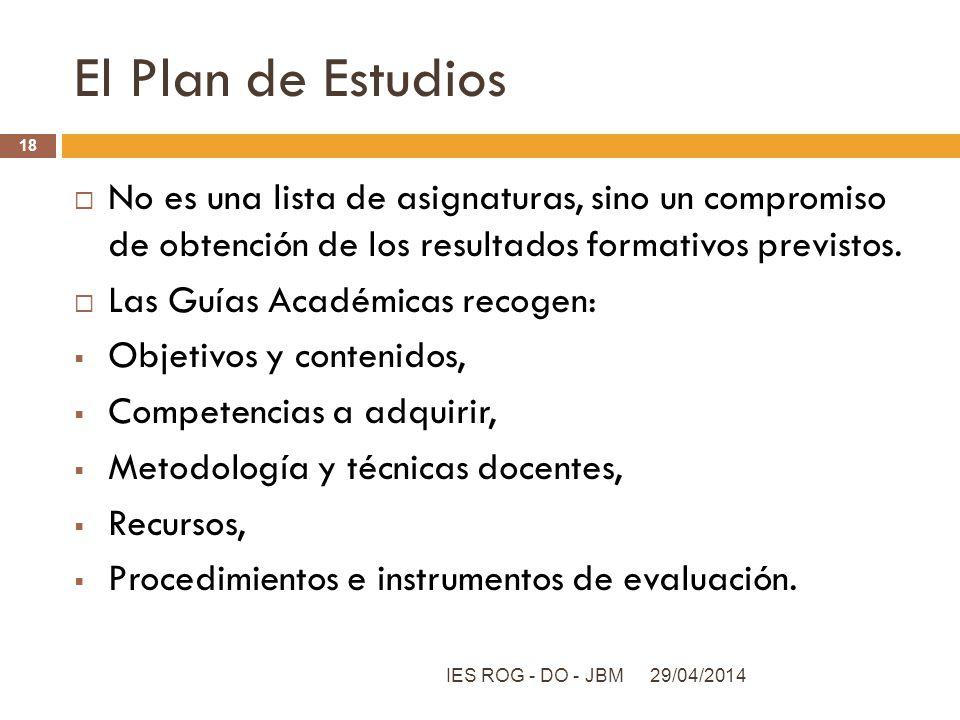 El Plan de Estudios No es una lista de asignaturas, sino un compromiso de obtención de los resultados formativos previstos.