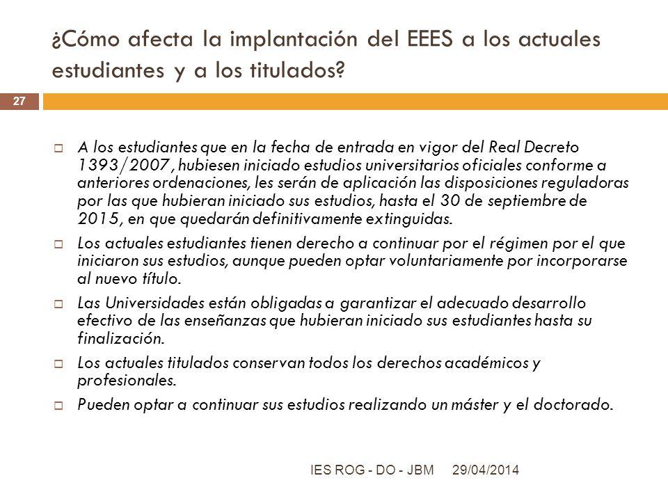 ¿Cómo afecta la implantación del EEES a los actuales estudiantes y a los titulados