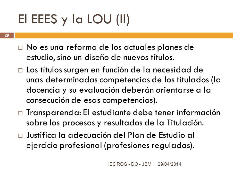 El EEES y la LOU (II) No es una reforma de los actuales planes de estudio, sino un diseño de nuevos títulos.