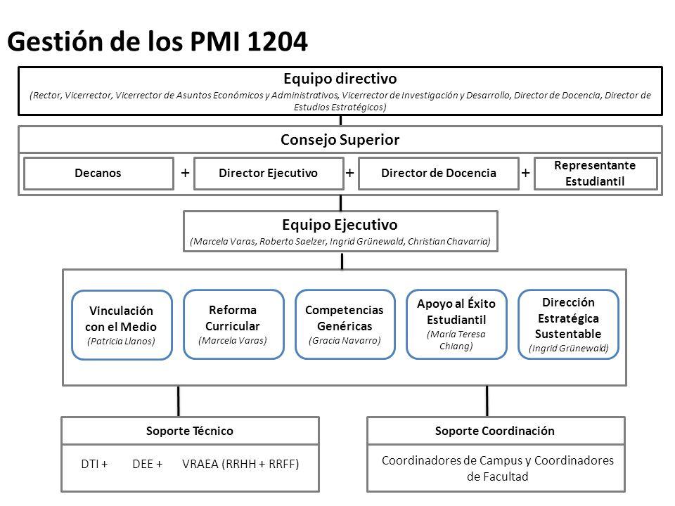 Gestión de los PMI 1204 + + + Equipo directivo Consejo Superior
