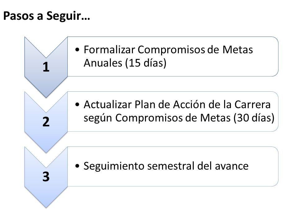 Pasos a Seguir… 1 Formalizar Compromisos de Metas Anuales (15 días) 2