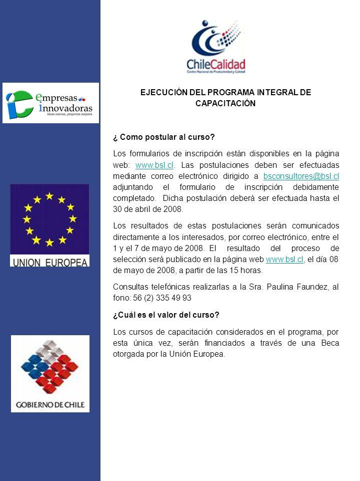EJECUCIÓN DEL PROGRAMA INTEGRAL DE CAPACITACIÓN