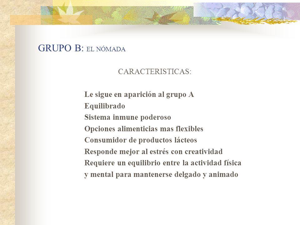GRUPO B: EL NÓMADA CARACTERISTICAS: Le sigue en aparición al grupo A
