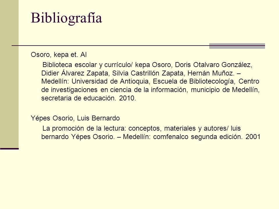 Bibliografía Osoro, kepa et. Al