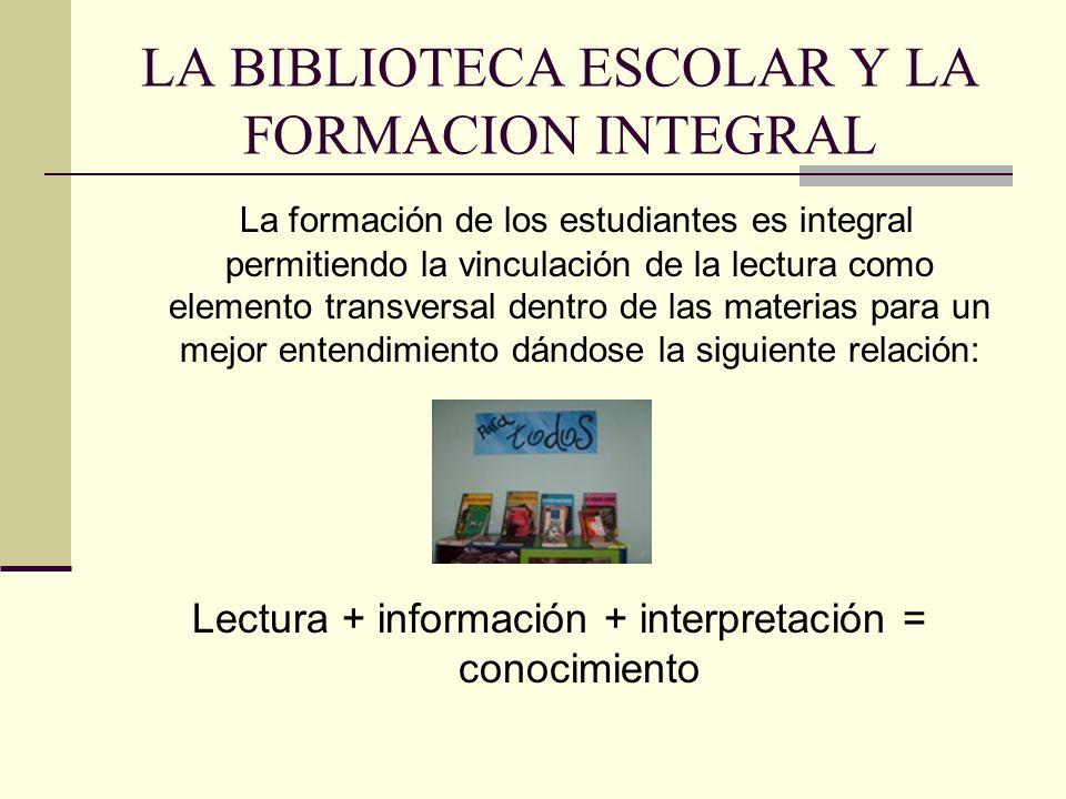 LA BIBLIOTECA ESCOLAR Y LA FORMACION INTEGRAL