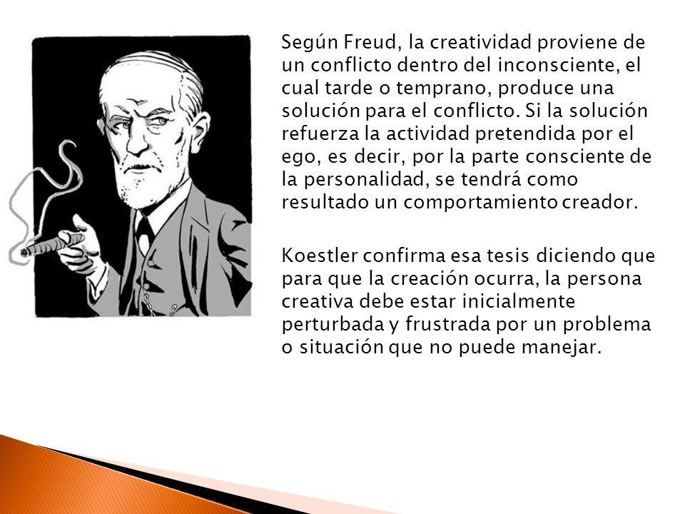 Según Freud, la creatividad proviene de un conflicto dentro del inconsciente, el cual tarde o temprano, produce una solución para el conflicto.