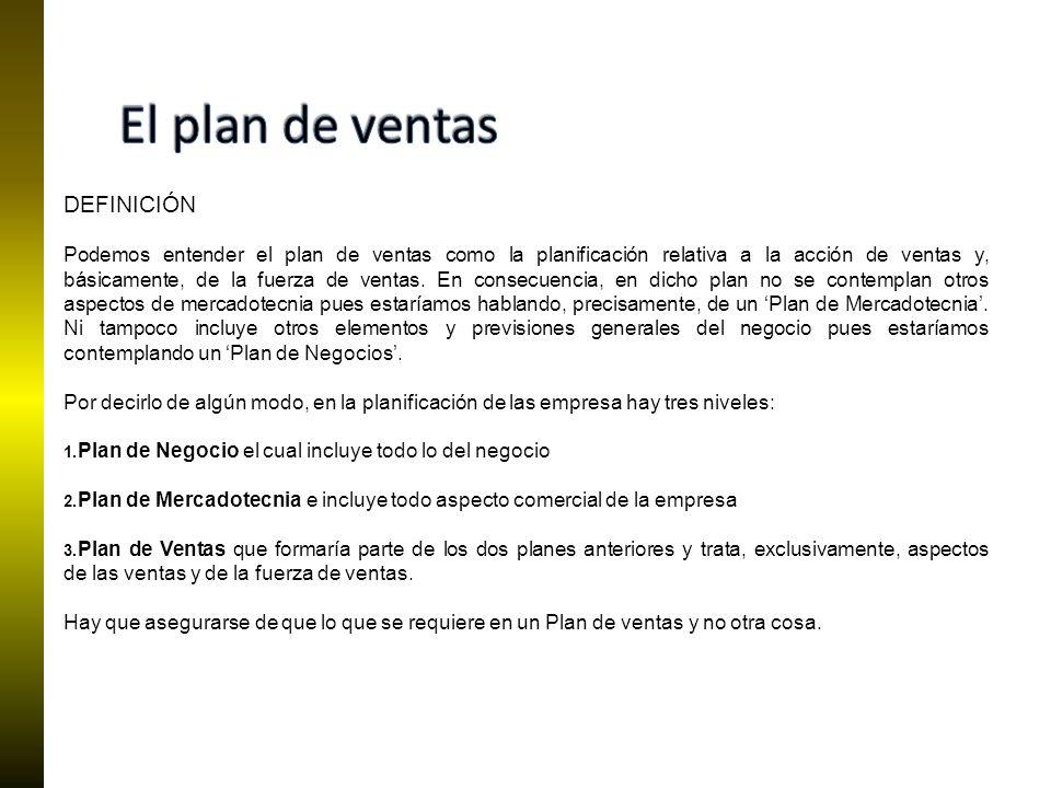 El plan de ventas DEFINICIÓN
