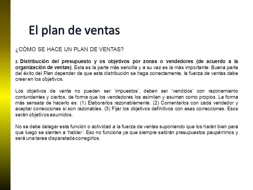 El plan de ventas ¿CÓMO SE HACE UN PLAN DE VENTAS